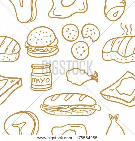 Food various of doodle collection stock vector illustration