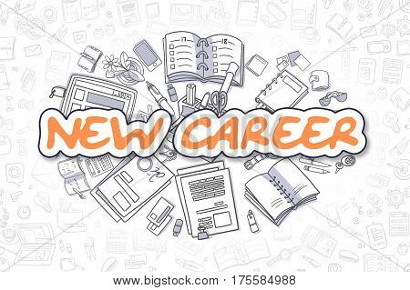 New Career - Hand Drawn Business Illustration with Business Doodles. Orange Inscription - New Career - Cartoon Business Concept.