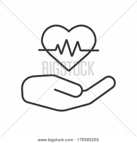 Heart care linear icon. Thin line illustration. Human hand with heartbeat curve contour symbol. Vector isolated outline drawing