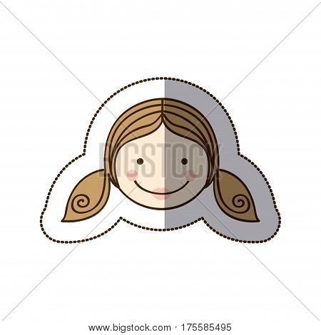 sticker front view colorful silhouette cartoon girl daugther face vector illustration