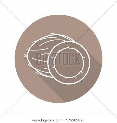 Open coconut half. Flat linear long shadow icon. Vector line symbol