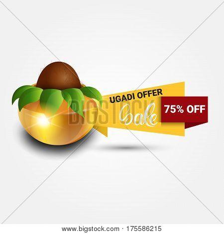 Holiday Sale Shopping Happy Ugadi Gudi Padwa Hindu New Year Greeting Card Banner Flat Vector Illustration