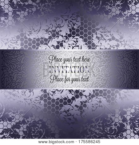 Baroque background with antique, luxury silver lace and metal gold vintage frame, victorian banner, damask intricate wallpaper ornaments, invitation card, baroque style booklet, lace decoration, textile