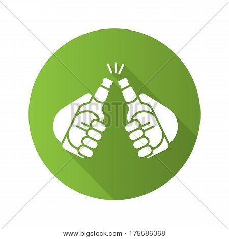 Toasting beer bottles flat design long shadow icon. Cheers. Hands holding beer bottles. Vector silhouette symbol