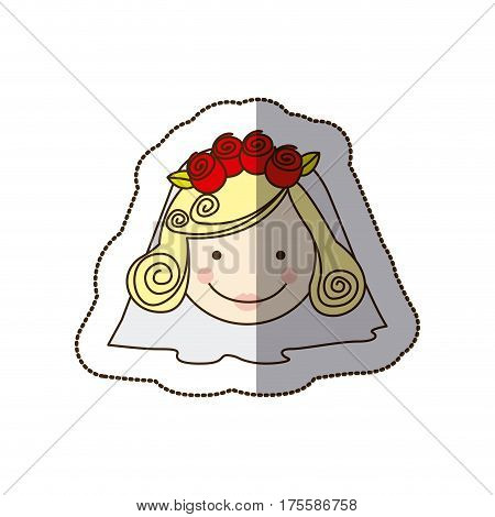 sticker colorful silhouette cartoon face bride with veil vector illustration