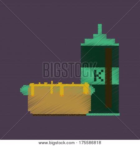 flat shading style icon pixel hotdog and ketchup