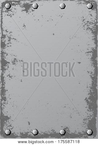 grunge metal background with bolts - vector illustration