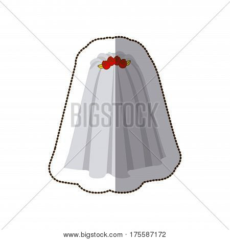 sticker colorful silhouette costume veil bride with roses vector illustration