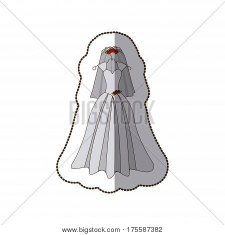 sticker colorful silhouette costume dress and veil bride with roses vector illustration
