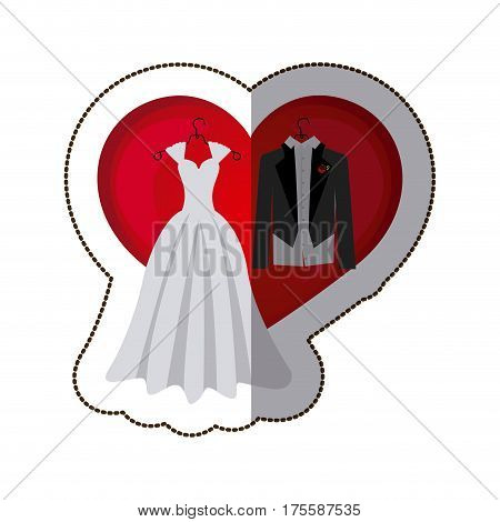 sticker colorful heart with costume wedding desing vector illustration