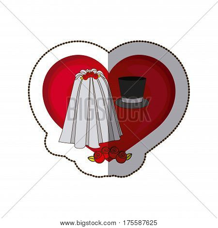 sticker colorful heart costume veil bride with hat groom vector illustration