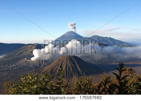 Mount Bromo an active volcano and part of the Tengger Semeru National Park in East Java Indonesia.