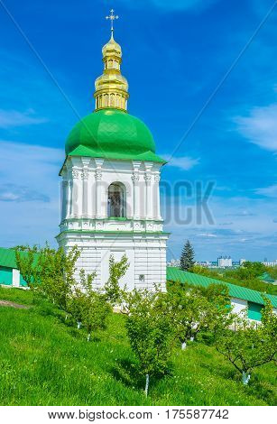 The Belfry in the Middle Caves located in the middle of the monastery garden in Kiev Pechersk Lavra Ukraine