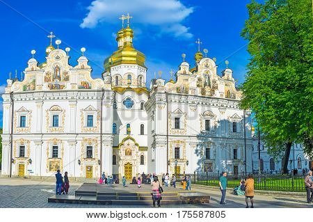 KIEV UKRAINE - MAY 01 2016: The Dormition Cathedral is the sacred place of the city on May 1 in Kiev.