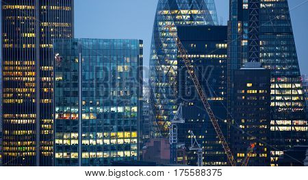London, UK - 19 December, 2016: London at night, view from st. Paul's cathedral. Modern skyscrapers of financial and banking aria.