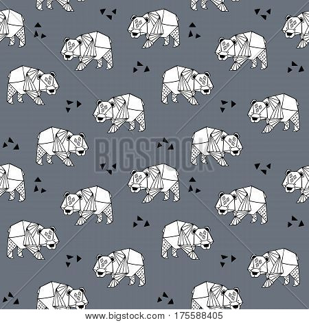Seamless hand drawn pattern with ornate bears