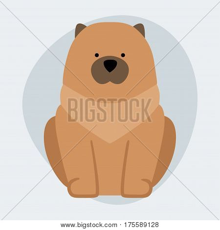 Funny cartoon dog character bread illustration in cartoon style happy puppy and chow isolated friendly mammal vector illustration. Domestic element flat comic adorable mascot canine.