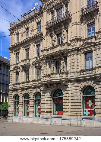 Zurich, Switzerland - 14 May, 2015: partial view of the facade of the Credit Suisse building on Paradeplatz square. Credit Suisse Group is a leading global financial services company headquartered in Zurich.