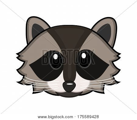 Cartoon face of a raccoon on white background. Vector illustration.