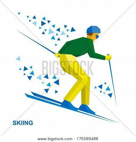 Winter Sports - Skiing. Skier Running Downhill.