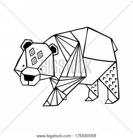 Vector hand drawn cute ornate polar bear