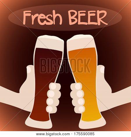 Fresh beer. Two cartoon hands holding beer glasses. Vector illustration