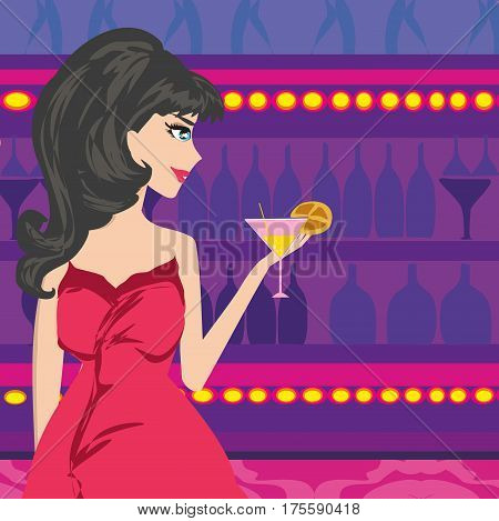 Sexy woman in night club , vector illustration