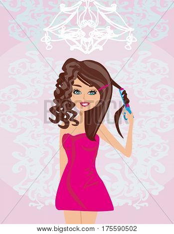 young woman and Using styler on her hair , vector illustration
