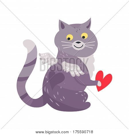 Cat with angel wings holding red heart isolated on white. Funny kitten with heart on back. Valentine s Day greeting card design with cute cartoon animal. Vector illustration love concept in flat style