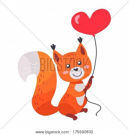 Fox with red heart shaped balloon in paws isolated on white background. Sexy vixen with bushy tail. Cute cartoon animal post card design. Valentines day concept vector illustration in flat style