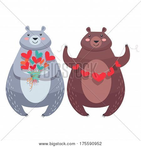 Bear with necklace of hearts and woman bear with flowers isolated on white. Teddy bears lovers with cartoon hearts. Valentine s Day greeting card design with animals. Vector illustration love concept