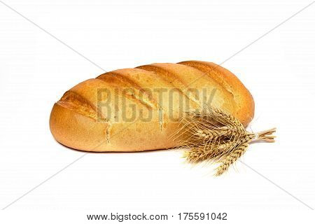 French bread with spikelet on white background. Close up