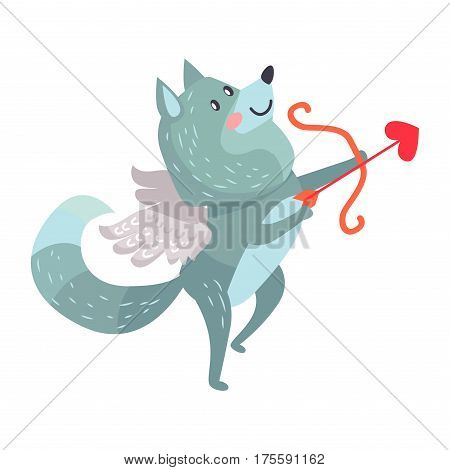 Wolf with amoretto wings with bow and arrows isolated on white. Timber wolf lover flying like Cupid. Cute cartoon animal post card design. Valentines day concept vector illustration in flat style