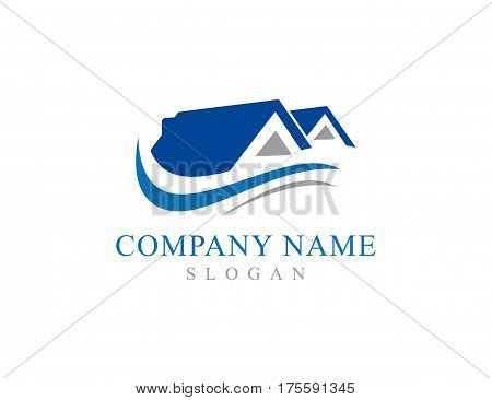 blue and grey real estate logo on white background