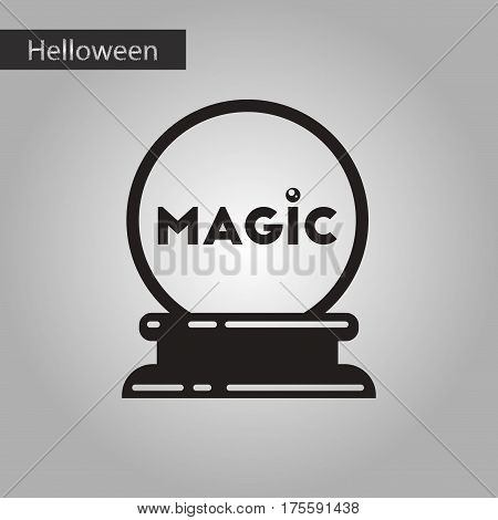 black and white style icon of halloween magic ball