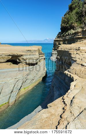 The Channel of Love Canal d'amour in Sidari. Corfu Island Greece.