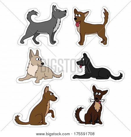 Cute dog set stickers. Different breeds of dogs. Vector set of icons and illustrations