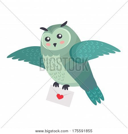 Owl bird flying with letter of love with heart isolated on white. Bird of Minerva greetings. Cartoon greeting card design. Post delivery service. Valentines day concept vector illustration in flat