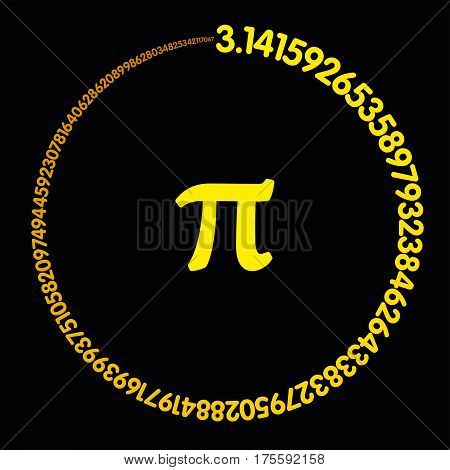 Golden number Pi. Hundred digits of the constant forming an orange-yellow colored circle. Value of infinite number Pi accurate to ninety-nine decimal places. Illustration on black background. Vector.