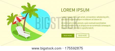 Tropical island with green palms, blue sea, white sunbed, striped umbrella on green grass in round tag near text. Vector web banner of relaxation on beach in summer weather on light background
