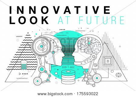 Trendy Innovation systems layouts in polygonal contour line composition, future analysis and technology operations. Made in awesome geometry style with linear pictogram of future for web design. poster