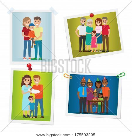 Family photos with happy moments set gallery on white. Vector poster of pictures with parents holding son on hands daughter near parents and grandparents couple with newborn celebrating birthday