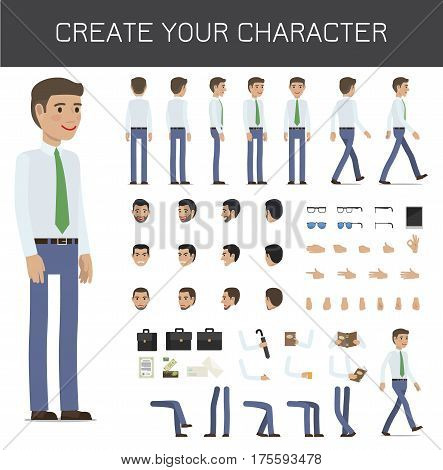 Create your character businessman set on white. Vector infographic poster of full length male person portrait and his poses, black suitcsses, bent arms with objects and legs, faces with emotions