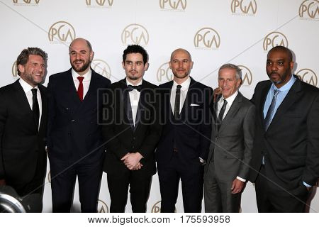 LOS ANGELES - JAN 28: Gary Gilbert, Jordan Horowitz, Damien Chazelle, Fred Berger, Marc Platt, Kenya Barris at the 2017 Producers Guild Awards at Beverly Hilton on January 28, 2017 in Beverly Hills,CA