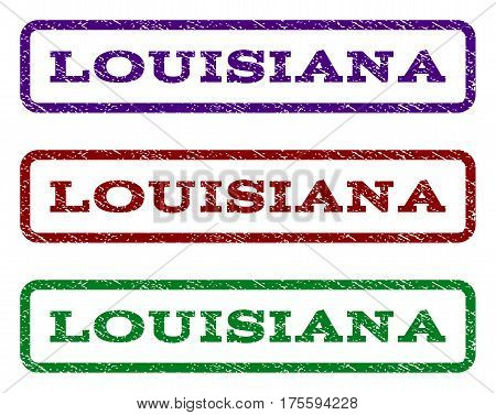 Louisiana watermark stamp. Text caption inside rounded rectangle with grunge design style. Vector variants are indigo blue, red, green ink colors. Rubber seal stamp with dust texture.