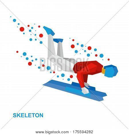 Winter Sports - Skeleton. Cartoon Sportsman Jump On Sled (bobsled)