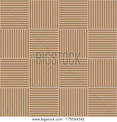 Vector abstract geometric seamless pattern. Weaving textile fabric with brown and beige crossed straight lines. Checked background texture in linear arrangement.