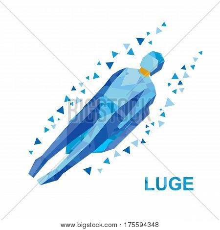Winter Sports: Luge (sledging). Cartoon Sportsman Sledding