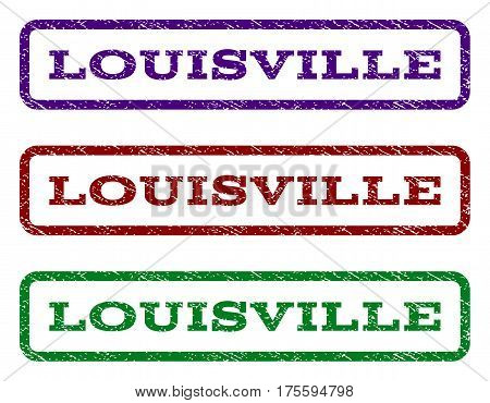 Louisville watermark stamp. Text caption inside rounded rectangle frame with grunge design style. Vector variants are indigo blue, red, green ink colors. Rubber seal stamp with dust texture.
