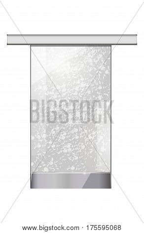 Moving transparent glass door without doorhandle on white background. Automatic entry object with thin wavy lines hanged up to long metal thing. Entrance for city malls, big shops vector
